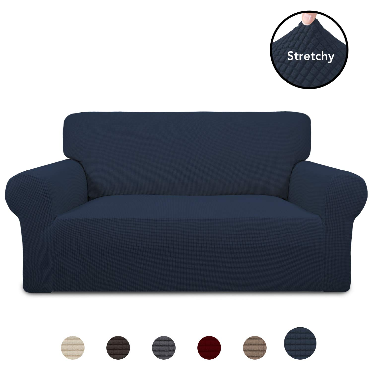 PureFit Stretch Loveseat Sofa Slipcover - Spandex Jacquard Anti-Slip Soft Couch Sofa Cover, Washable Furniture Protector with Anti-Skid Foam and Elastic Bottom for Kids (Loveseat, Navy) by PureFit