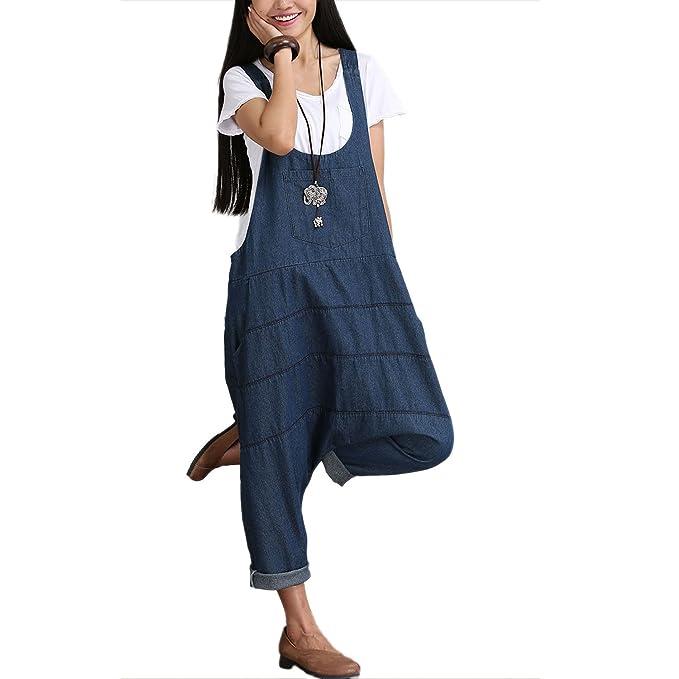Escalier donna con bretelle denim harem tutina tuta pantaloni Dark Blue 10 f805d6b5dd20