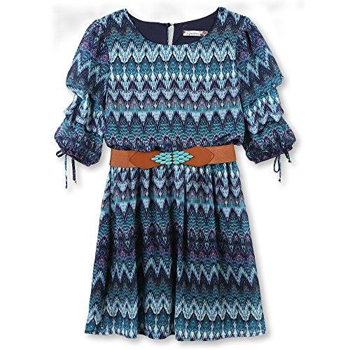 Speechless Girls' Big Tiered Sleeve Belted Dress, Navy Lavender, 10