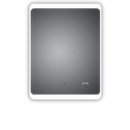 Espejo de baño LED con reloj digital, Detmold 60 x 80 cm ...
