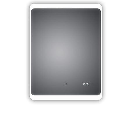 HOKO® LED Badspiegel mit digitaler Uhr, Detmold 60x80cm, Badezimmerspiegel mit Uhr, Energieklasse A+ (WEEE-Reg. Nr.: DE 40647
