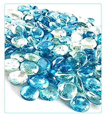 """MagicWater Supply Clear & Light Blue Flat Marble Glass Gems - 2 LB (pound) Total - Flat Marble Vase Fillers, Table Scatter, Aquarium Décor, Pebbles - Approx. 3/4"""" diameter (1 bag per color)"""
