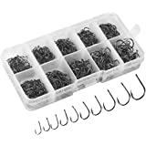 NYKKOLA 500pcs Small Size Freshwater Fishhook Fishing Hooks Set, Carbon Steel Worm Bait Jig Fish Hooks with Plastic Box