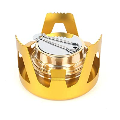 SHZJZ-OD Vaporization Stove_Outdoor Portable Alcohol Stove Windproof Set Liquid Solid Alcohol Burner Steaming Stove,Gold: Sports & Outdoors