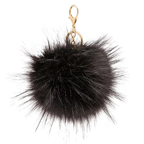 SUPPION Women s Raccoon Furry Ball Keychain Bag Car Charms Pendant (Black) 94801aba69