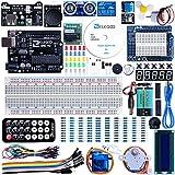 Conjunto medio de iniciación a Arduino UNO con guías y conjunto de Arduino UNO R3 de la casa ELEGOO, a demás de relé de 5V, Modulo de fuente de alimentación, servomotor, placa de desarrollo de prototipos, etc.