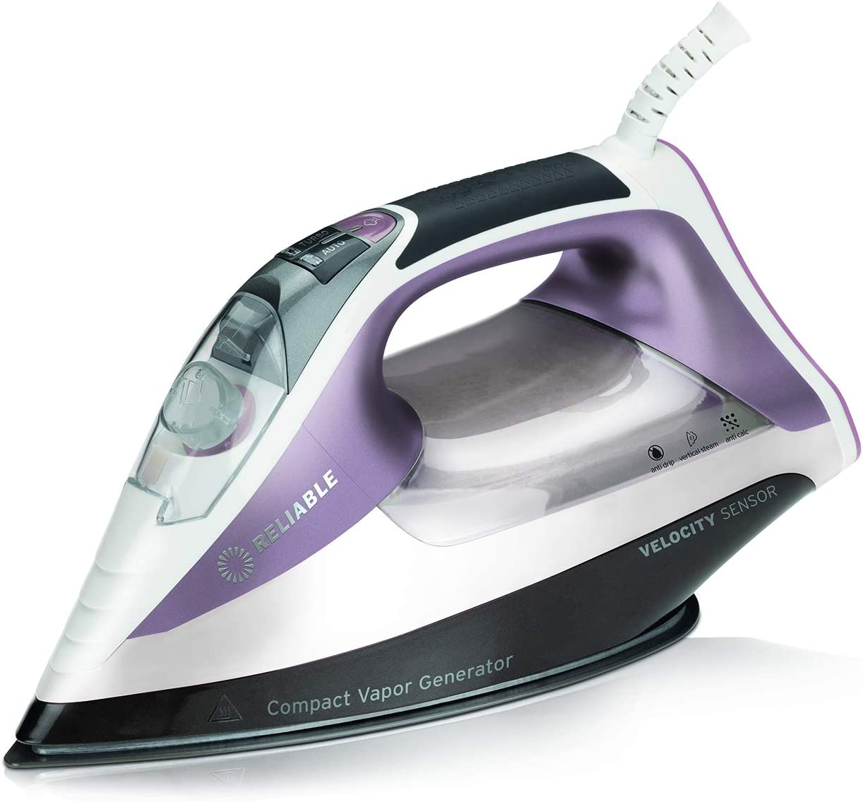 Reliable Velocity 230IR Steam Iron - Compact Sensor Vapor Generator Steam Iron with Auto/Turbo Setting, Anodized Aluminum Soleplate, Heavy-Duty Continuous Steam, Zero Leaks, Perfect Temperature