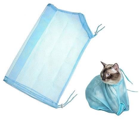 Qunlei - Bolsa de aseo para gatos, de poliéster, malla suave, resistente a