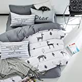 karever Women Forest Deer Pine Tree Full Bedding Duvet Cover Sets Queen Size Boys Girls Animal Reversible Gray Cotton 3 Piece Set