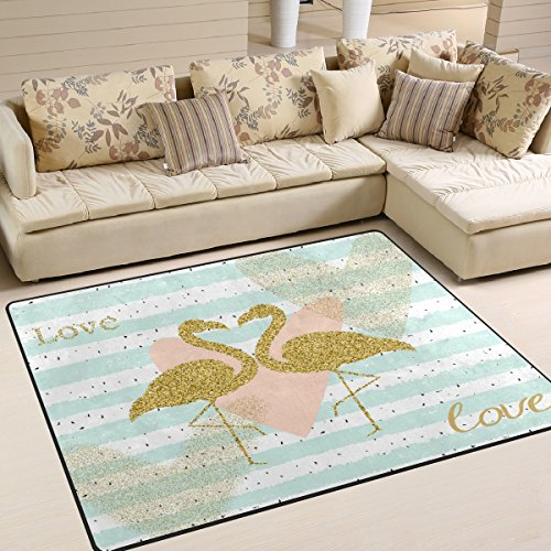 ALAZA Gold Flamingo Bird Love Heart Striped Area Rug Rugs for Living Room Bedroom 5'3 x 4'
