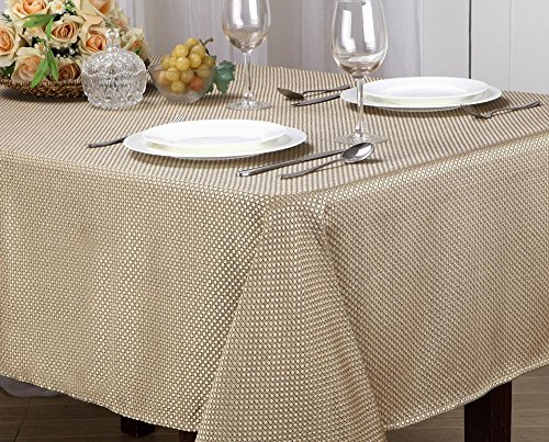 [Monarch Collection Textured Jacquard Fabric Tablecloth, Rectangle, Round - Edith (60x84 Rectangle, Gold)] (Jacquard Tablecloth Fabric)