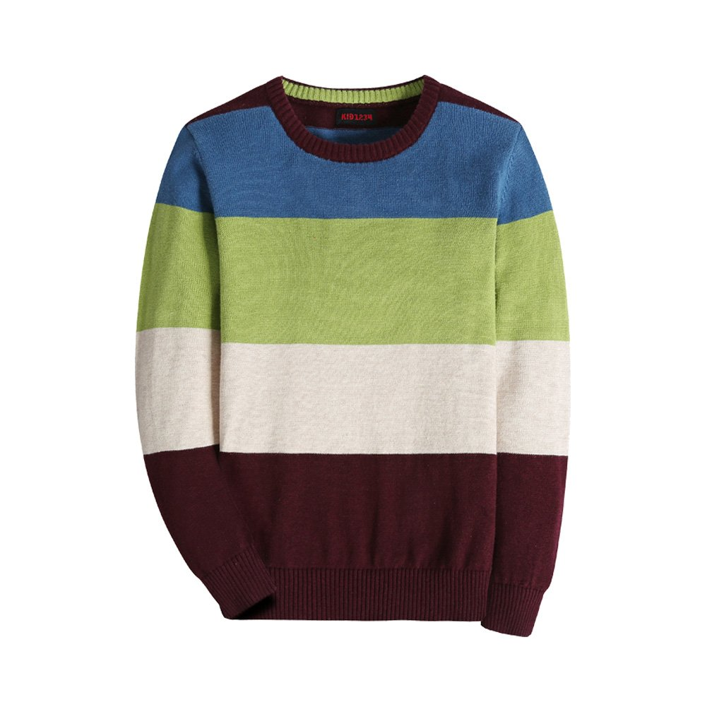KID1234 Boys' Uniform Long Sleeve Striped Sweater Pullovers (4T, Striped Green)