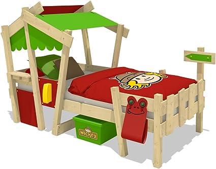 WICKEY Cuna CrAzY Candy Cama para niños Cama infantil 90x200cm con somier de madera, rojo-verde manzana
