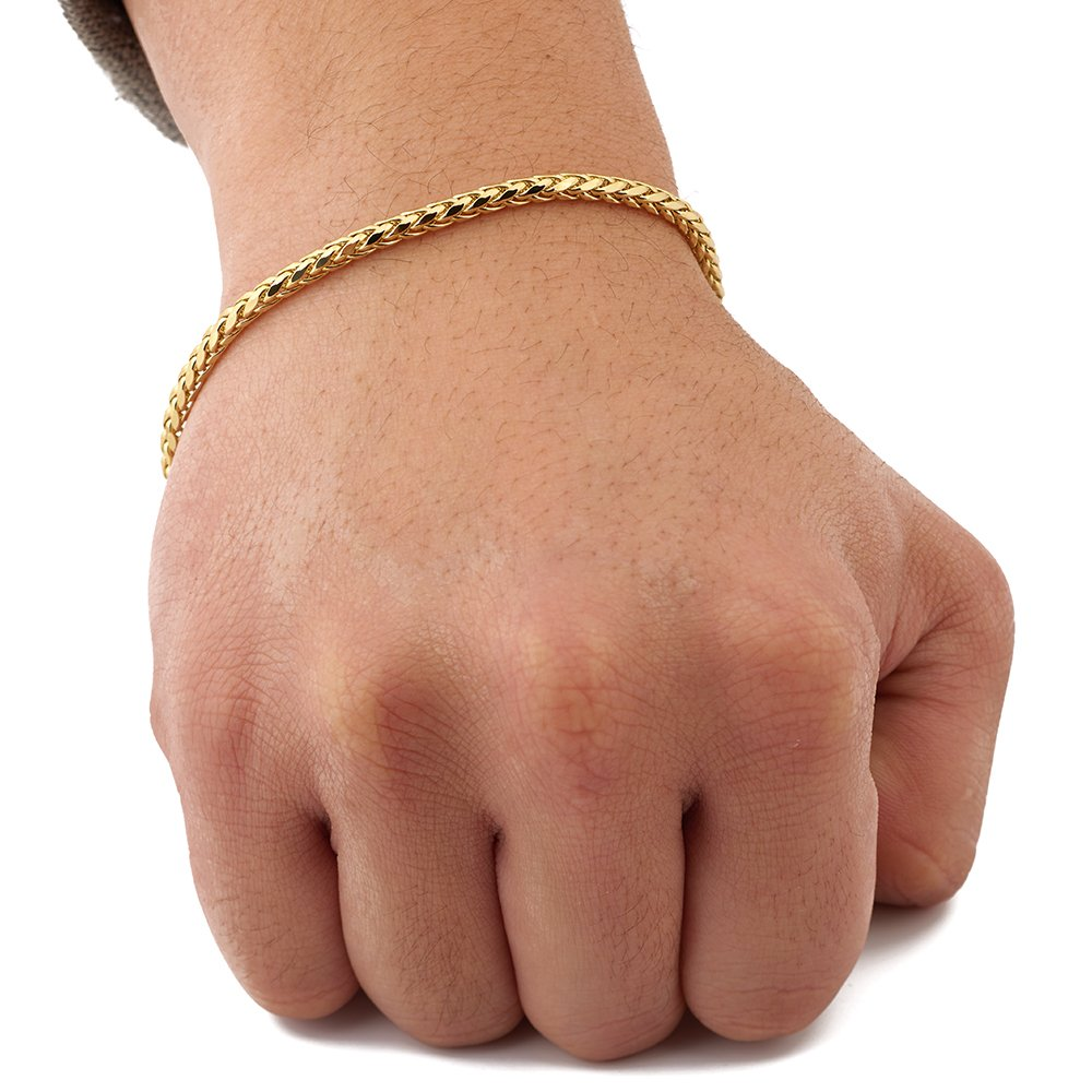 Mr. Bling 14K Yellow Gold 3mm Palm Chain Bracelet with Lobster Lock (8'')