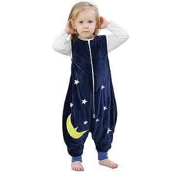 ZEEUAPI - Saco de dormir de franela para bebés niños infantíl Ropa para dormir (L (5-6 años), Azul marino - Estrellas): Amazon.es: Hogar
