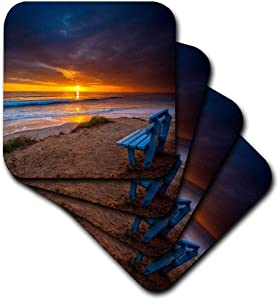 3dRose CST_206318_1 Sunset Over The Pacific Ocean in Carlsbad, Ca Soft Coaster (Set of 4)