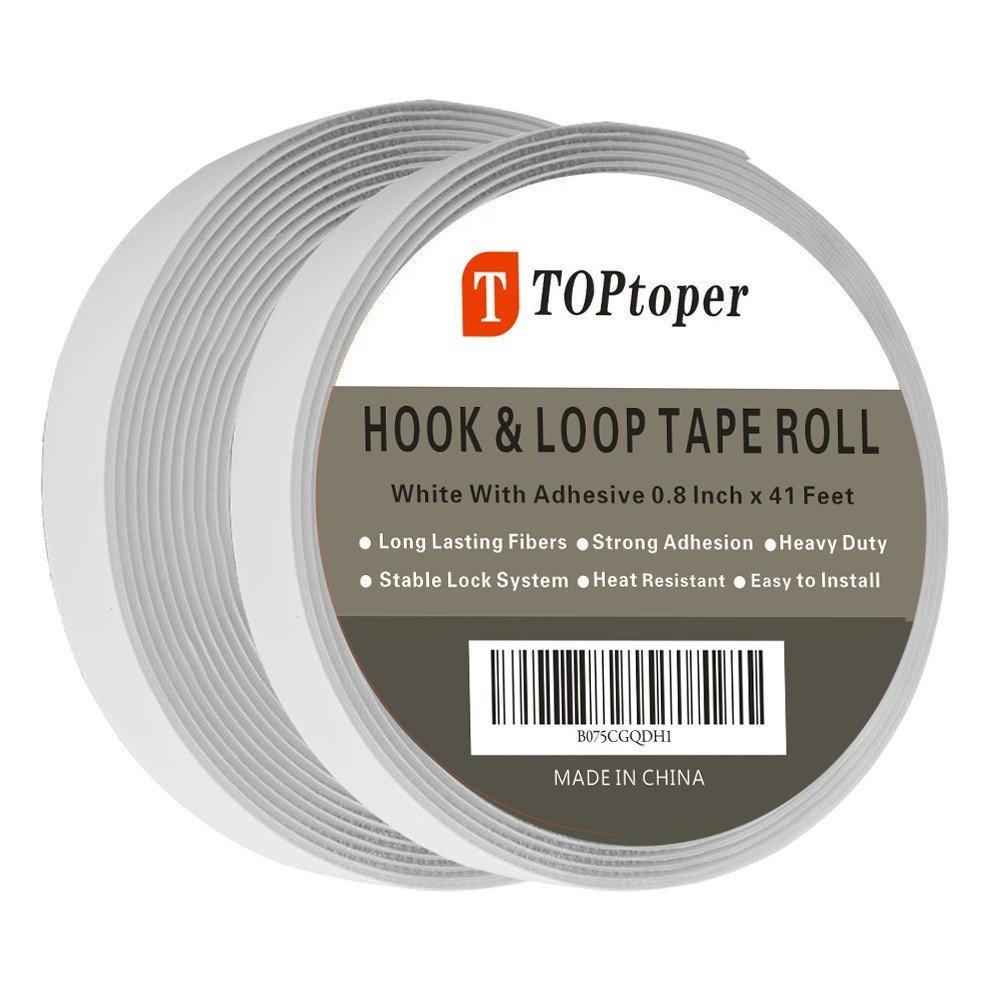 41 Feet Self Back Adhesive Tape Roll by TOPtoper Hook and Loop Strips 0.8 inch (White)