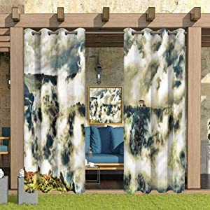 """ParadiseDecor Mystic Indoor/Outdoor for Garden Drapes Porch Gazebo Curtains House Among Clouds 84"""" W x 63"""" L"""