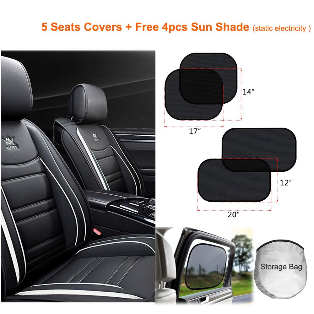 16-BK Mopow Luxury Car Seat Cover Fashion Design with Rivet Decoration Full Set Car Interior Protector Rear Seat Cover Adjustable for Business Man with Free 4pcs Sun Shade