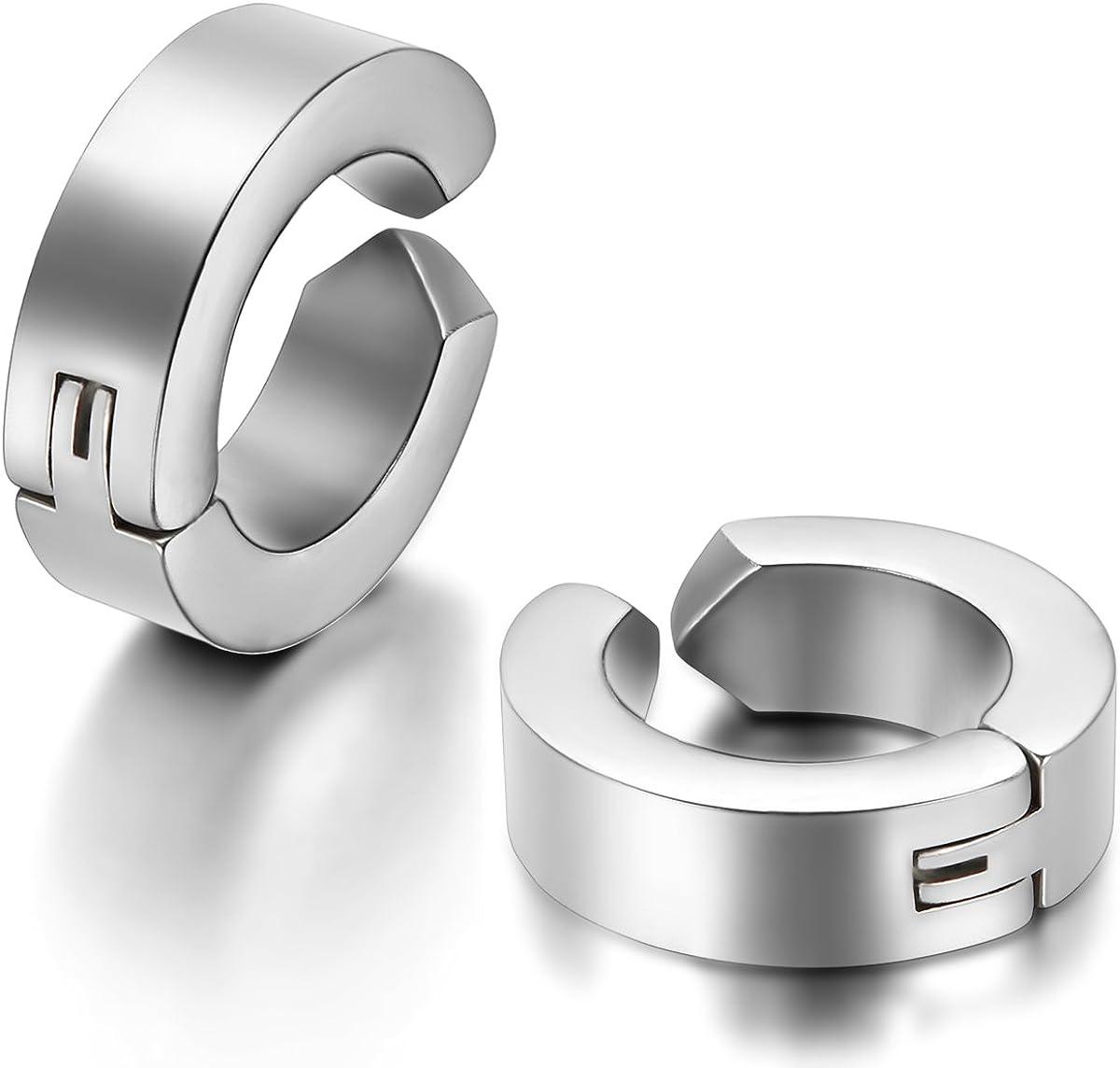 JewelryWe Schmuck 2x Creolen Edelstahl ohne Loch Fake Ohrstecker Ohrclips Klappcreolen Huggie 4mm Silber Schwarz