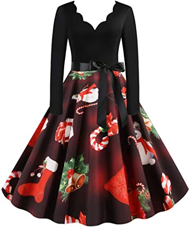 Wendeyipi Women Christmas Vintage Dress Womens Long Sleeve Cocktail Swing Dress V Neck Xmas Evening Party Dress