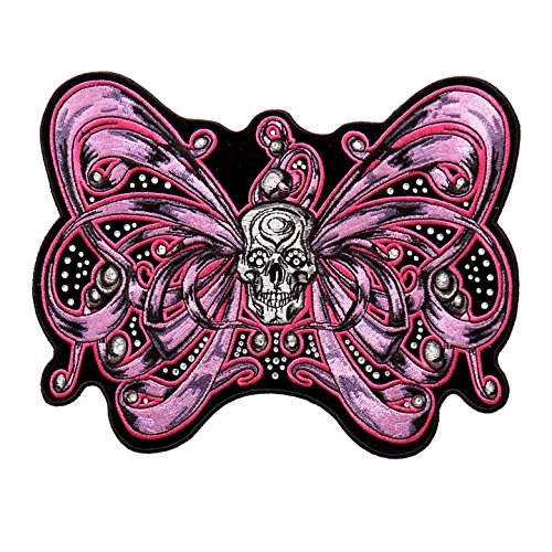 Hot Leathers, BOW SKULL Accented with Rhinestones, High Thread Embroidered Iron-On / Saw-On Rayon PATCH - 8