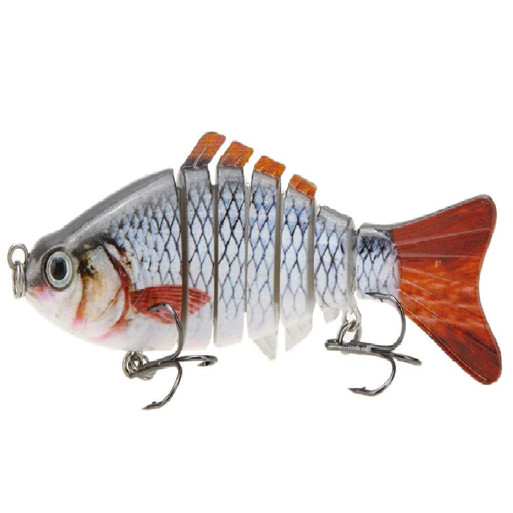 Lixada 10cm/4'' 15.5g Bionic Multi Jointed Fishing Lure SUN-FISH Lifelike Hard Bait Bass Yellow Perch Walleye Pike Muskie Roach Trout Swimbait (Style 1)