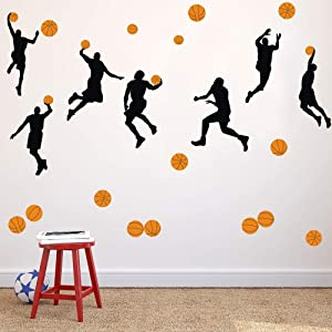 Basketball Slam Dunk Silhouette Wall Decals (20 Decals) Sport Player Wall Stickers Peel& Stick Jumpman Wall Art for Boys Teens Living Room Bedroom Playroom