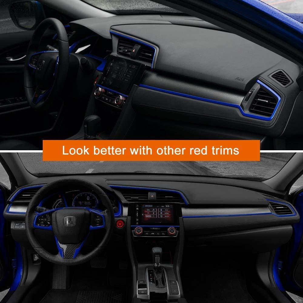 Gen Honda Civic 2016-2019,Blau L/&U 2ST Mittelkonsolen Aufkleber Entl/üfterelement Borte Armaturenbrett Plattenstreifen Inner Abziehbilder f/ür 10