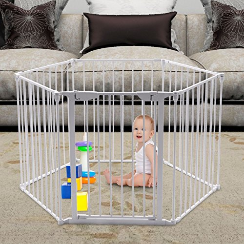 Custpromo 6 Panel Baby Safety Fence Fireplace Fence, 25.5'' to 150'' Wide and 29.5'' high, Metal Playard Pet Dog Cat Gate (White) by Custpromo