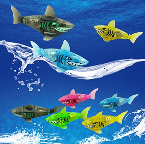 NEW! Robofish Activated Battery Powered Robot Fish Toy Childen Kids Shark Pet 5 colors (Blue)