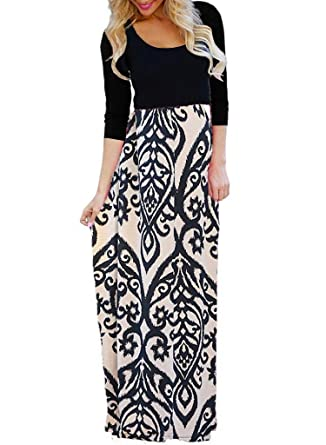fc9cb0f260d OURS Casual Maxi Dresses for Women with Sleeves Empire Waist Long Dresses  with Pockets (Khaki