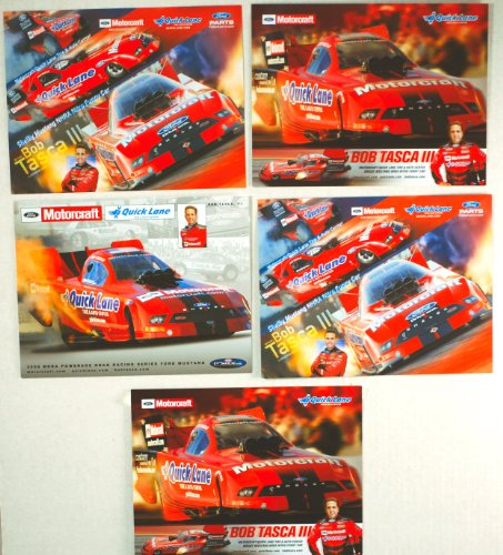 Motorcraft Racing (2010 / 2008 - NHRA - Bob Tasca III - Ford Shelby Mustang / Funny Car - Motorcraft / Quick Lane Tire & Auto Center - Powerade Drag Racing Series - 5 Promo Cards - Out of Print - Collectible)