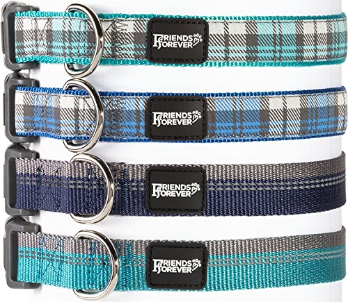 Plaid Dog Collar for Dogs, Fashion Woven Checkers Pattern, Cute Puppy Collar by Friends Forever, Blue Medium 14-20
