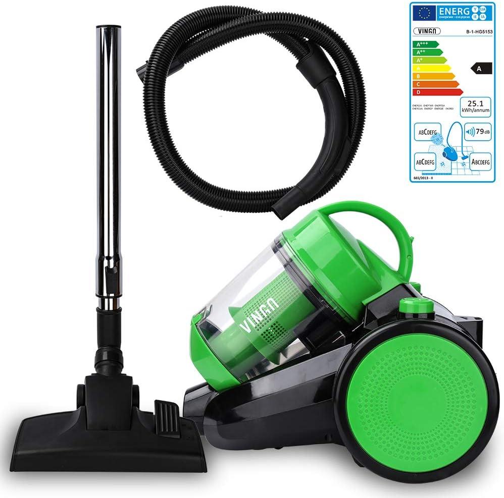 Hengda Aspirateur traîneau sans sac | Puissance maximale: 900 watts, volume du bac à poussière: 3 litres | Filtre hygiénique lavable aspirateur haute performance | Rouge Vert