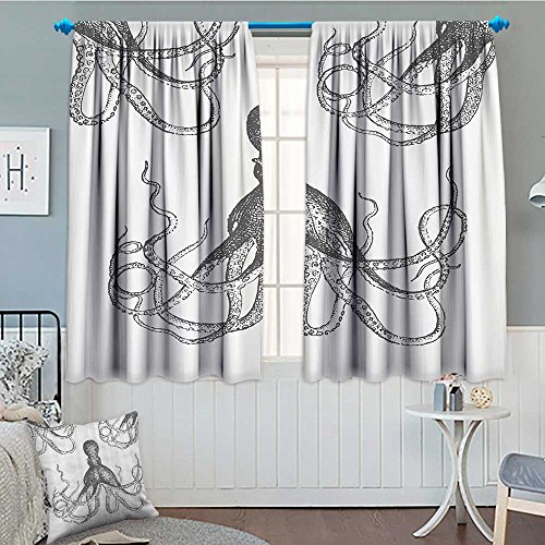 Strongger Kraken Decor Room Darkening Wide Curtains Sea Creatures Giant Octopus with Swirl Legs Nautical Theme Art Design Modern Print Decor Curtains by 84
