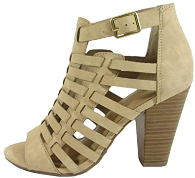 0e1de59f5c3 Delicious Women s Cutout Caged Buckle Stacked Chunky Heel Bootie (8 B(M) US
