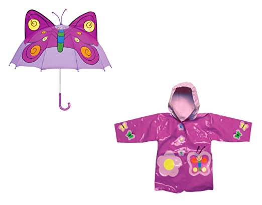 Amazon.com: Kidorable mariposa lluvia Set abrigos y paraguas ...