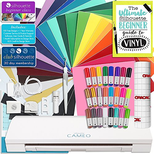 Silhouette Cameo 3 Bluetooth Starter Bundle with 26 Oracal 651 Sheets, Transfer Paper, Guide, Class, 24 Sketch Pens (24 sheets)