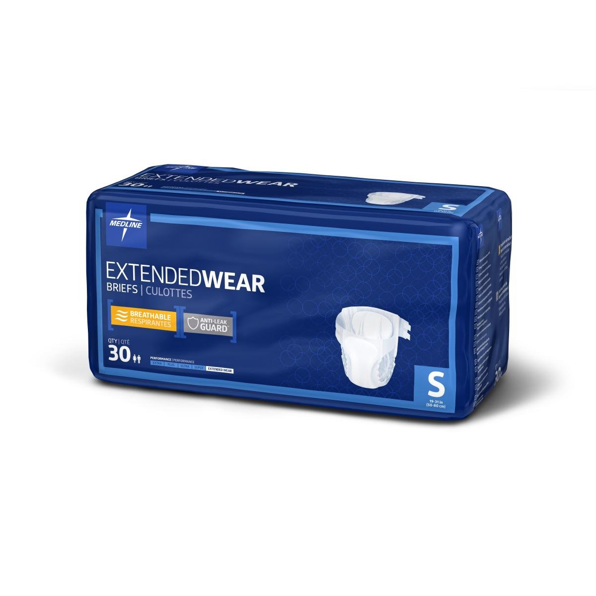 Medline MTB80200 High Performance Absorbency Adult Extended Wear and Overnight Briefs, Size Small (Pack of 120)