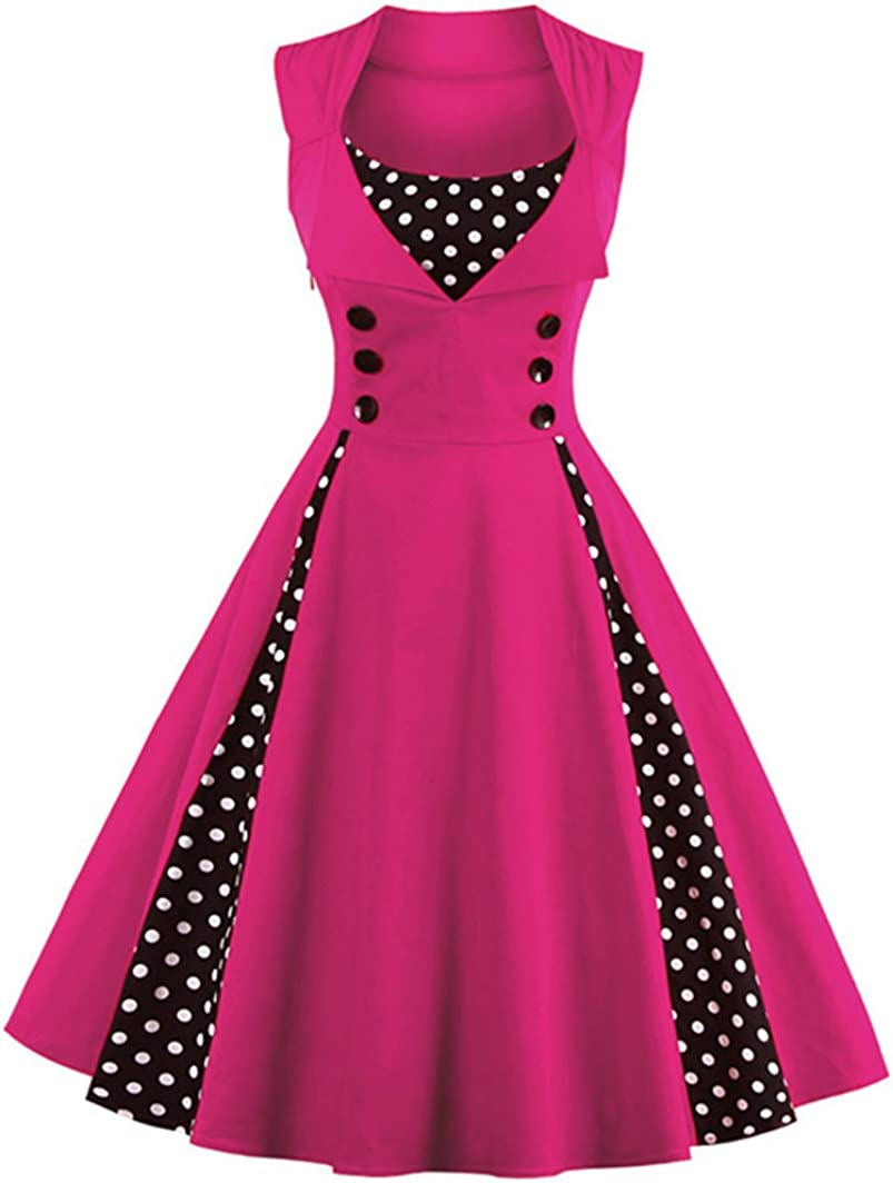 TALLA L. VERNASSA 50s Vestidos Vintage,Mujeres 1950s Vintage A-Line Rockabilly Clásico Verano Dress for Evening Party Cocktail, Multicolor, S-Plus Size 4XL 1357-magenta