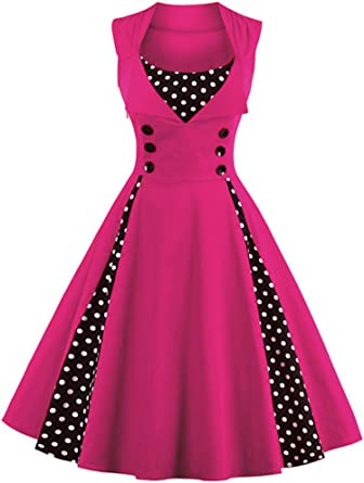 TALLA XXL. VERNASSA 50s Vestidos Vintage,Mujeres 1950s Vintage A-Line Rockabilly Clásico Verano Dress for Evening Party Cocktail, Multicolor, S-Plus Size 4XL 1357-magenta XXL