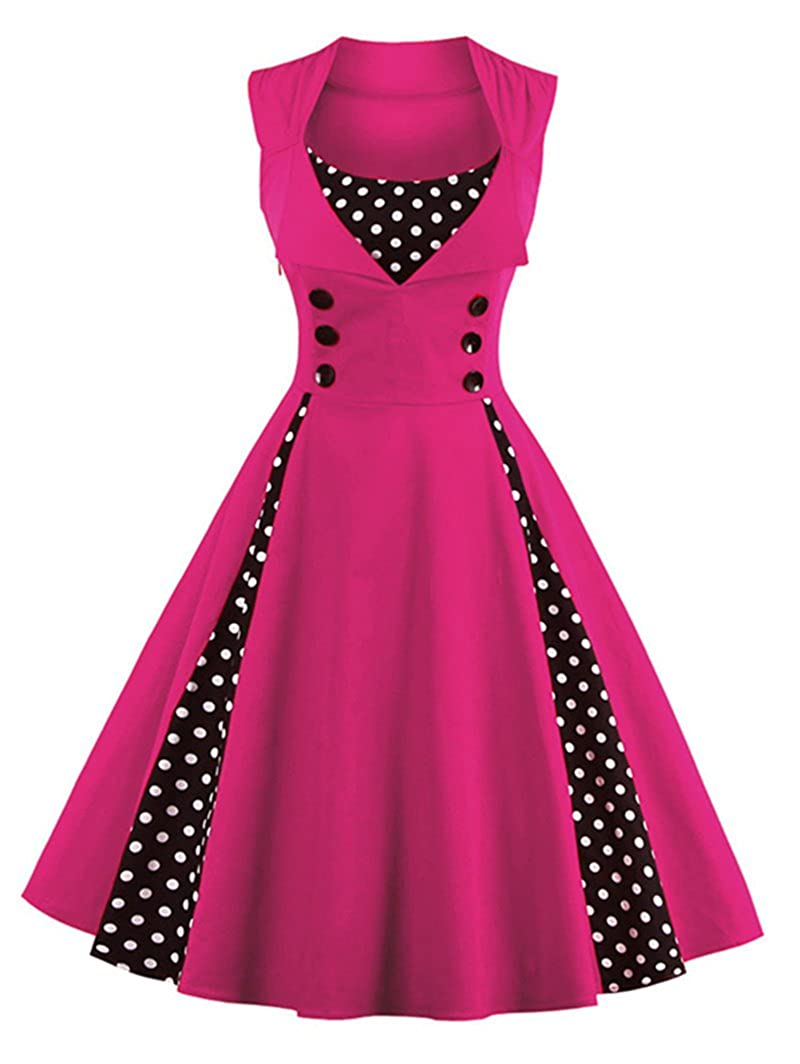 TALLA S. VERNASSA 50s Vestidos Vintage,Mujeres 1950s Vintage A-Line Rockabilly Clásico Verano Dress for Evening Party Cocktail, Multicolor, S-Plus Size 4XL 1357-magenta