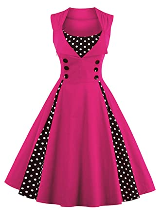7373d02b782 YoungG-3D Women Robe Pin up Dress Retro Vintage 50S 60S Rockabilly Dot  Swing Summer