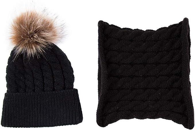 2PCS Winter Warm Newborn Baby Boy Girl Bobble Knit Hairball Beanie Cap Hat+Scarf