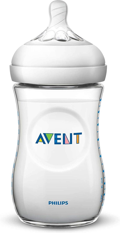 Philips Avent Biberón Natural SCF033/17 - Biberón de 260 ml con tetina con flujo para recién nacidos, diseñada para imitar el tacto del pecho, 0% BPA, 1m+, color transparente