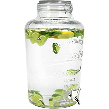 COM-FOUR® Dispensador de bebidas de vidrio en frasco de conservas Diseño con cierre de grifo y clip, 8 litros (01 pieza - 8 litros V1): Amazon.es: Hogar
