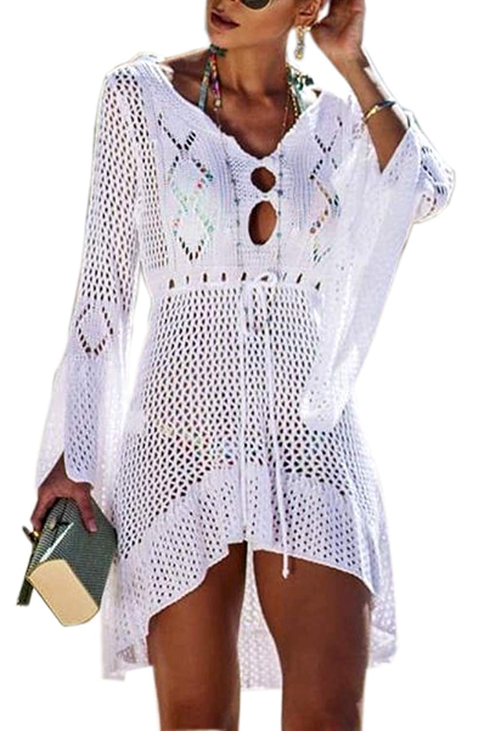 6fd36870d9dad Walant Womens Crochet Sexy Swimsuit Cover Up Bikini Bathing Suit Beach Dress  at Amazon Women's Clothing store: