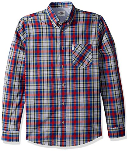 Ben Sherman Men's Long Sleeve Crepe Texture Check Shirt, Dark Navy, XLarge