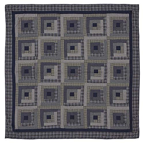 VHC Brands Rustic & Lodge Bedding Carson Blue Plaid Cotton Pre-Washed Patchwork King Quilt Navy -